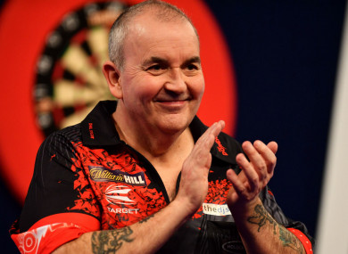 Phil Taylor after beating Keegan Brown.
