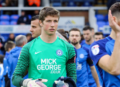 Peterborough goalkeeper Conor O'Malley.