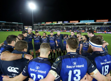 The Leinster huddle after Sunday's win at Sandy Park.