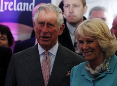 Charles and Camilla watch Irish dancers perform at NUI Galway on the first day of their Royal visit in 2015