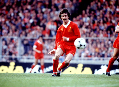 Terry McDermott pictured playing for Liverpool in 1978.