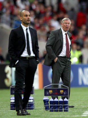 Pep Guardiola and Alex Ferguson on the touchline at Wembley during the 2011 Champions League final between Barcelona and Manchester United.