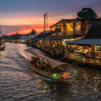 Stunning views line the banks of the Mekong, Southeast Asia's longest river, like the Amphawa floating market in Thailand.<span class=