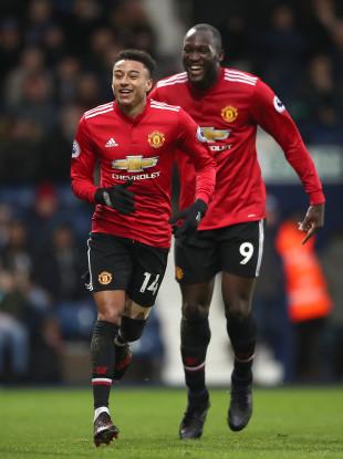 Goalscorers Jesse Lingard and Romelu Lukaku.
