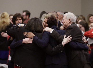 Victims and supporters clapped and embraced each other after the sentencing of Larry Nassar yesterday.