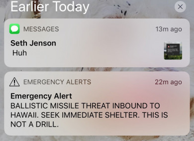 A screenshot showing the alert.