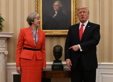 Theresa May and Donald Trump in the White House.