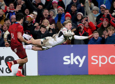 Ulster's Rob Lyttle scores a try.