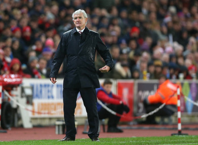 Mark Hughes pictured during today's match.