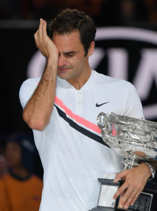 Federer broke down during his post-match speech in Melbourne on Sunday.