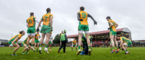 Corofin players before last year's Connacht senior club final against Castlebar Mitchels.