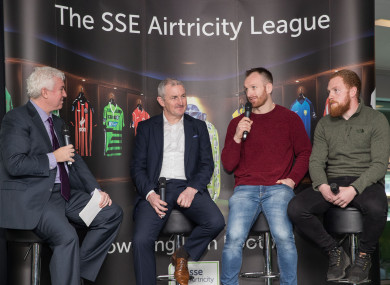 Caulfield (second left) speaking to Con Murphy, Dundalk captain Stephen O'Donnell and Galway United's Ryan Connolly at the Aviva Stadium today.