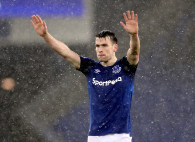 Seamus Coleman acknowledges the fans after the final whistle last night.