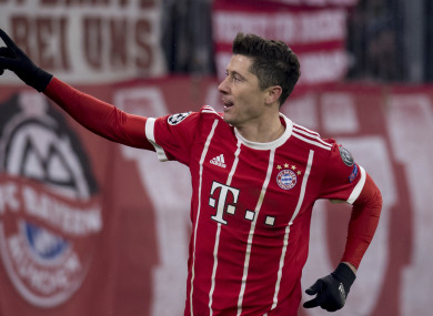 Bayern's Robert Lewandowski celebrates after scoring his side's fourth goal.