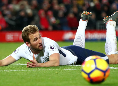 Harry Kane appeals for a penalty at Anfield.
