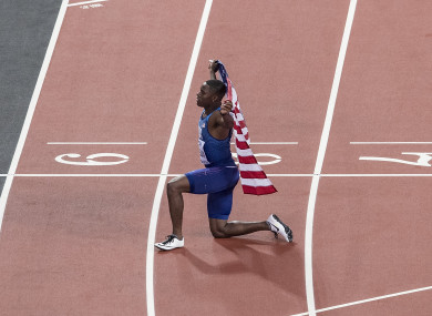 Christian Coleman during last year's World Championships.