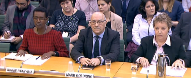 Winnie Byanyima, executive director of Oxfam International, Mark Goldring, CEO of Oxfam GB, and Caroline Thomson, chair of trustees for Oxfam GB, giving evidence before the Commons Development Committee in London.