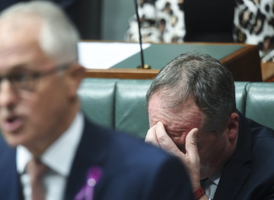 Barnaby Joyce reacting during question time in parliament today.