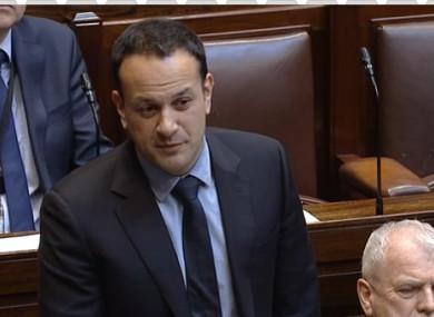 Taoiseach Leo Varadkar in the Dáil this afternoon.