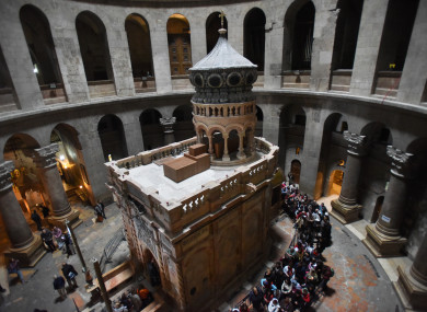 The renovated Edicule, traditionally believed to be the tomb of Jesus Christ, is seen in the Church of the Holy Sepulchre in Jerusalem's Old City.
