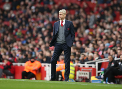 Arsene Wenger pictured during the weekend's game.