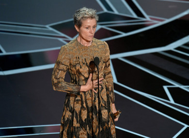 Actor Frances McDormand accepts the Best Actress award.
