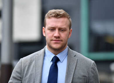 Stuart Olding arrives at Belfast Laganside court.