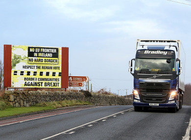 A truck crosses the border at Armagh.