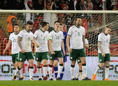 The Ireland players looking dejected after conceding.