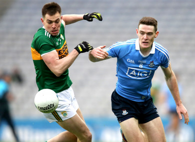 Kerry's Jack Barry in action against Dublin's Brian Fenton.