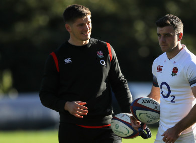 Owen Farrell with England team-mate George Ford
