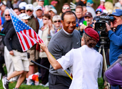 Woods pictured during the opening round of the PGA's Valspar Championship.