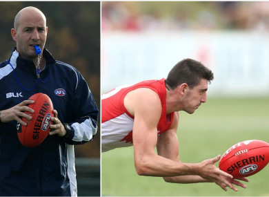 Sydney Swans coach Tadhg Kennelly and player Colin O'Riordan.