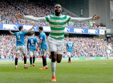 Odsonne Edouard celebrates scoring for Celtic.