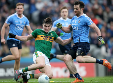 Sean O'Shea went off injured at half-time of Kerry's clash with Dublin yesterday.