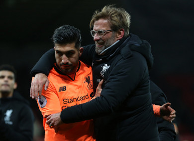 Emre Can and Jurgen Klopp.