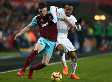 Rice has featured 18 times in the Premier League this season for West Ham.