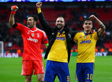 Buffon, Higuain and Dybala celebrate at full-time.
