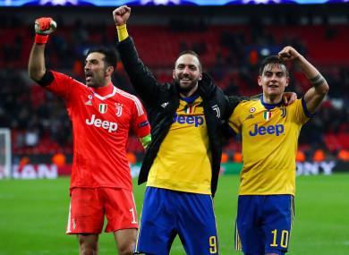 Buffon, Higuain and Dybala celebrate at full-time.