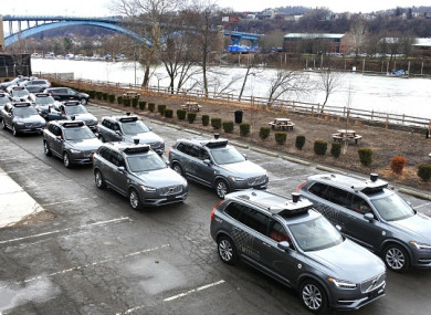 A photo taken earlier this month in Pittsburgh, Pennsylvania, showing self-driving vehicles used for test drives conducted by Uber Technologies Inc.