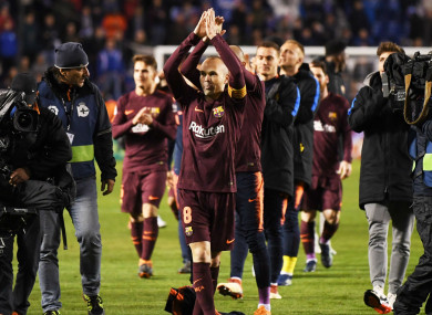 Andres Iniesta salutes the Riazor crowd