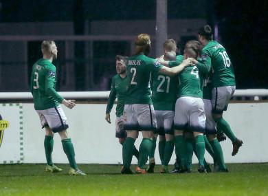 Bray celebrate Ronan Coughlan's goal.
