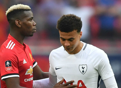 Alli alongside Paul Pogba after their FA Cup semi-final meeting at Wembley.