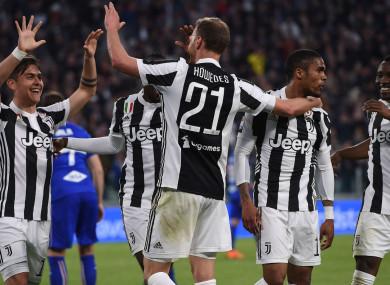 Juventus celebrate against Sampdoria