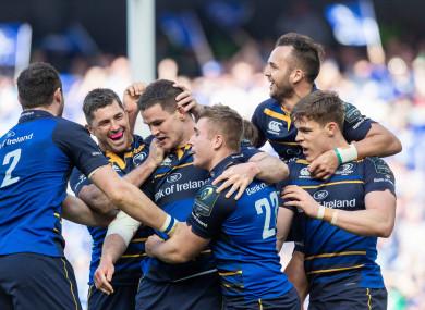Sexton celebrates Leinster's fifth try.