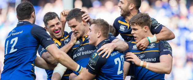 Sexton celebrates Leinster's fifth try.