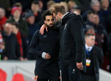 Liverpool manager Jurgen Klopp with Mohamed Salah.