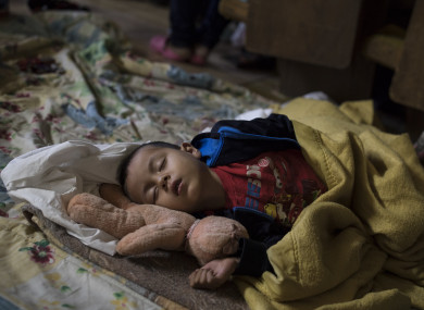 A child travelling among the caravan of migrants at a shelter in Tijuana, Mexico.