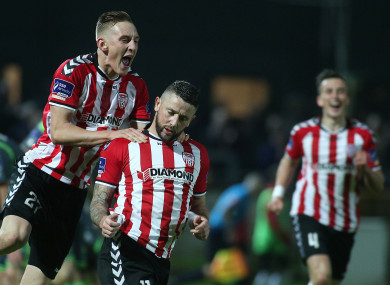 Derry's Rory Patterson celebrates scoring (file pic).
