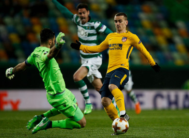 Sporting a new style: Griezmann wasted a couple of chances against the Portuguese side.